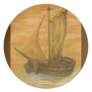Barco viejo plato de comida