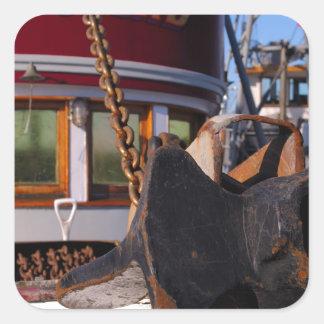 Barco y ancla de pesca pegatina cuadrada