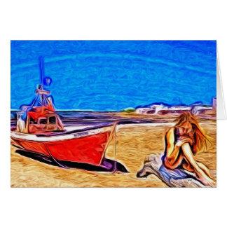 Barco y chica varados tarjeta de felicitación