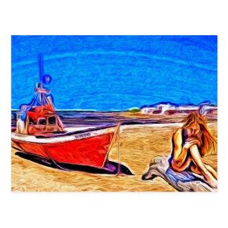 Barco y chica varados tarjetas postales