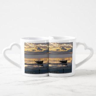 Barco y garza taza para parejas