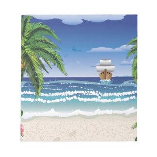 Barco y playa del dibujo animado bloc de papel