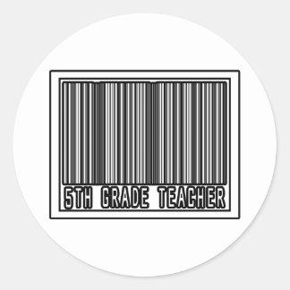 Barcode 5th Grade Teacher Round Sticker