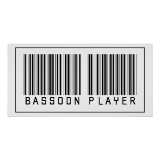 Barcode Bassoon Player Posters