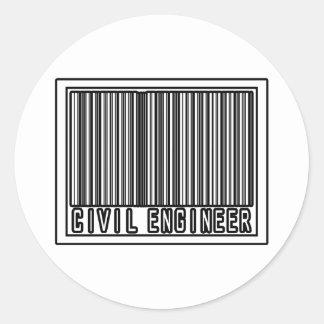 Barcode Civil Engineer Classic Round Sticker