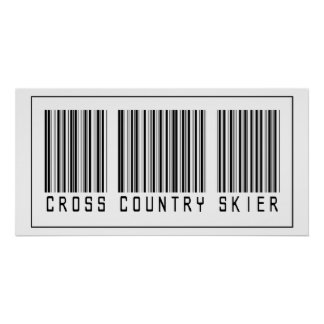 Barcode Cross Country Skier Poster