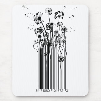 Barcode Dandelion Silhouette mouse mat Mouse Pad