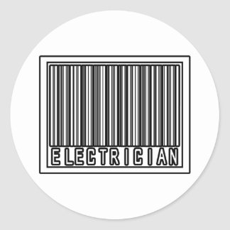 Barcode Electrician Round Stickers