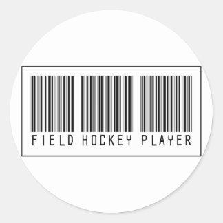 Barcode Field Hockey Player Round Stickers