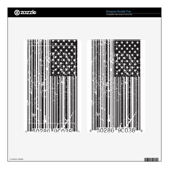 Barcode Flag Kindle Fire Decals