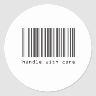 Barcode - Handle With Care Round Sticker