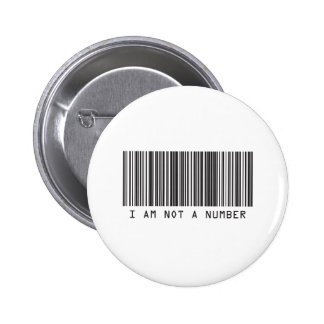 Barcode - I Am Not  A Number Button