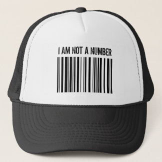 BARCODE, I AM NOT A NUMBER TRUCKER HAT