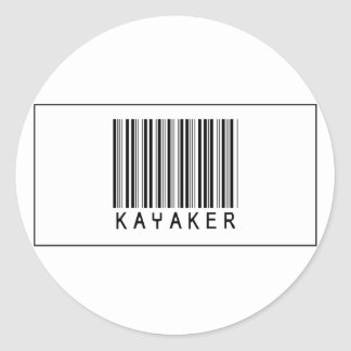 Barcode Kayaker Classic Round Sticker