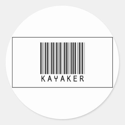 Barcode Kayaker Round Sticker
