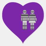 barcode man and woman heart sticker