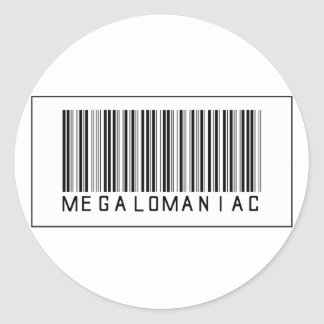Barcode Megalomaniac Classic Round Sticker