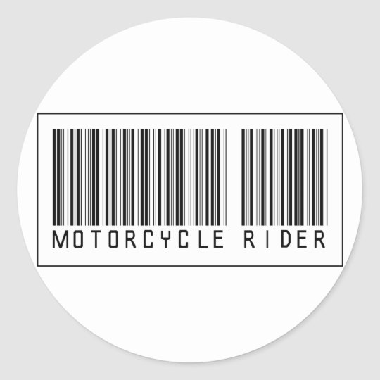 Barcode Motorcycle Rider Classic Round Sticker