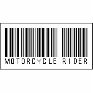 Barcode Motorcycle Rider Photo Sculpture Ornament
