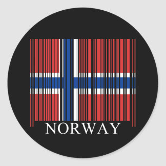 Barcode Norway Flag Classic Round Sticker