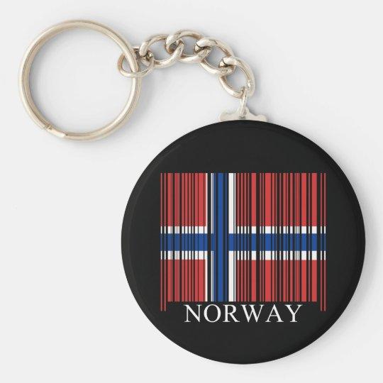 Barcode Norway Flag Keychain