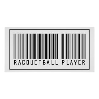 Barcode Racquetball Player Posters