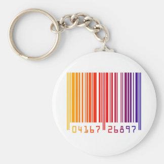 Barcode rainbow graphic basic round button keychain