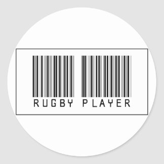 Barcode Rugby Player Classic Round Sticker