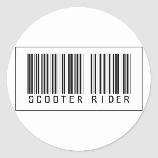 Barcode Scooter Rider Classic Round Sticker