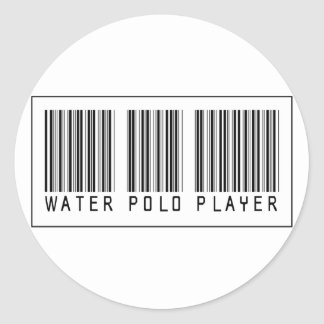 Barcode Water Polo Player Classic Round Sticker