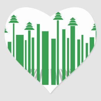 Barcode with Christmas trees Heart Sticker