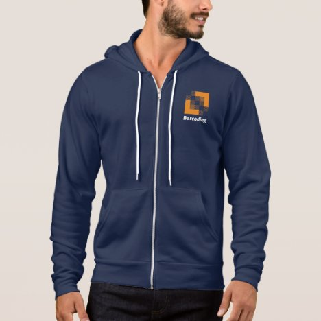 Barcoding Navy-Blue Zip Up Hoodie