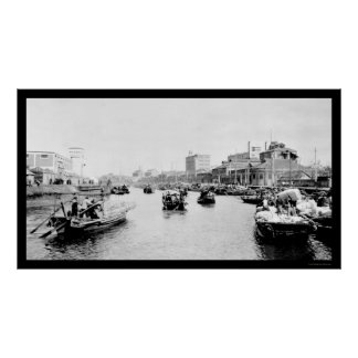 Barcos 1898 del algodón de Shangai China Poster