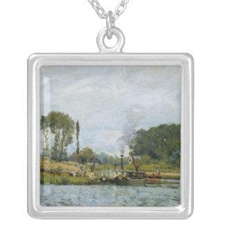 Barcos de Alfred Sisley el | en la cerradura en Collar Plateado
