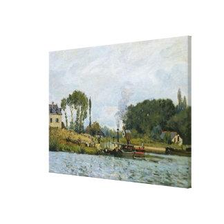 Barcos de Alfred Sisley el | en la cerradura en Impresión En Lienzo