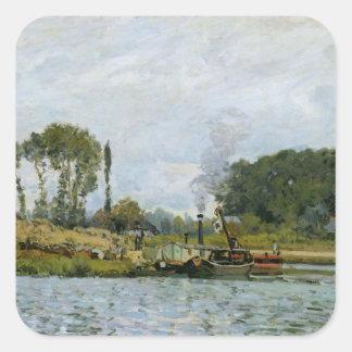 Barcos de Alfred Sisley el | en la cerradura en Pegatina Cuadrada