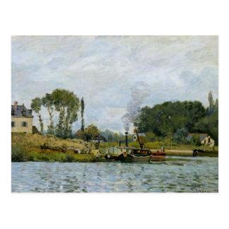 Barcos de Alfred Sisley el | en la cerradura en Postales