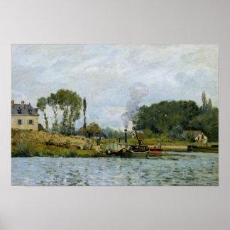 Barcos de Alfred Sisley el | en la cerradura en Póster