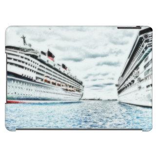 Barcos de cruceros en el dibujo de lápiz coloreado funda para iPad air