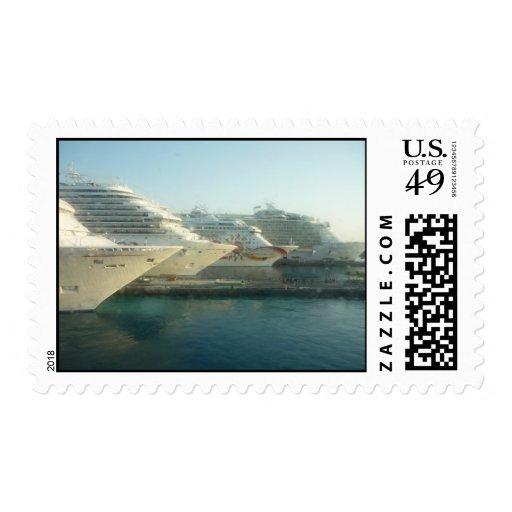Barcos de cruceros en la salida del sol timbres postales