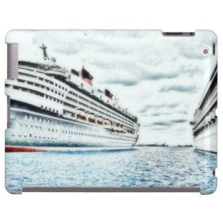 Barcos de cruceros en tema náutico del dibujo de l funda para iPad