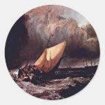 Barcos de Holländische en una tormenta por los Wi Etiquetas Redondas