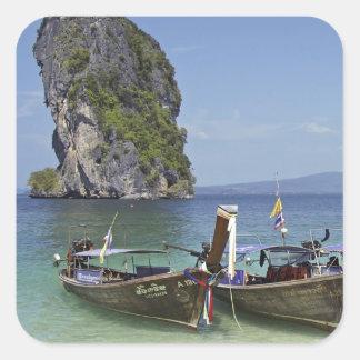 barcos de la paz de la largo-cola de Tailandia de Pegatina Cuadrada