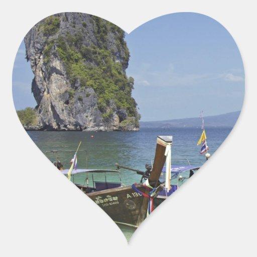 barcos de la paz de la largo-cola de Tailandia de Pegatina En Forma De Corazón