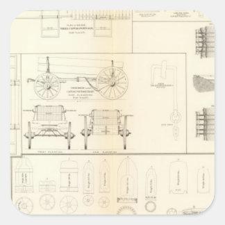 Barcos de los dibujos, puentes, carros, colcomanias cuadradas personalizadas