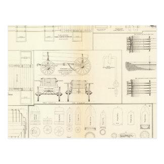 Barcos de los dibujos, puentes, carros, postal