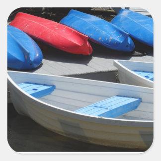 Barcos de Maine Pegatina Cuadrada