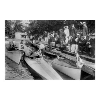 Barcos de motor del Palm Beach, 1910 Póster