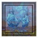barcos de navegación azules claros y anaranjados d