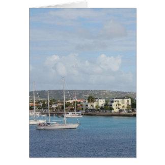 Barcos de navegación del puerto de Bonaire Tarjeta De Felicitación